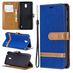 Jeans Cowboy Denim Leather Wallet Case for Nokia 1 Plus (2019) - Sapphire