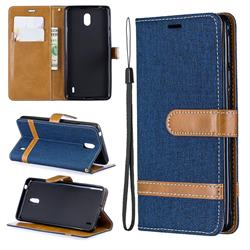 Jeans Cowboy Denim Leather Wallet Case for Nokia 1 Plus (2019) - Dark Blue