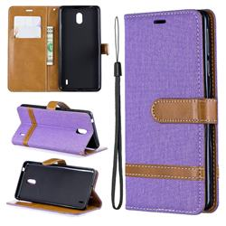 Jeans Cowboy Denim Leather Wallet Case for Nokia 1 Plus (2019) - Purple