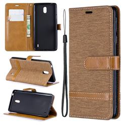Jeans Cowboy Denim Leather Wallet Case for Nokia 1 Plus (2019) - Brown