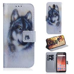 Snow Wolf PU Leather Wallet Case for Nokia 1 Plus (2019)