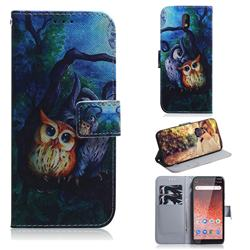 Oil Painting Owl PU Leather Wallet Case for Nokia 1 Plus (2019)