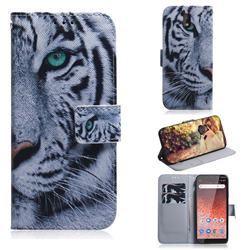 White Tiger PU Leather Wallet Case for Nokia 1 Plus (2019)