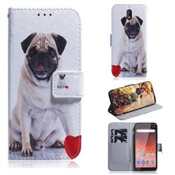 Pug Dog PU Leather Wallet Case for Nokia 1 Plus (2019)