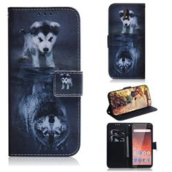 Wolf and Dog PU Leather Wallet Case for Nokia 1 Plus (2019)