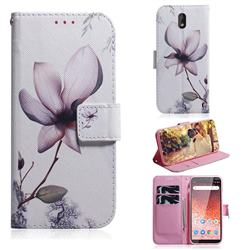 Magnolia Flower PU Leather Wallet Case for Nokia 1 Plus (2019)