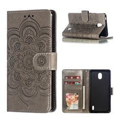 Intricate Embossing Datura Solar Leather Wallet Case for Nokia 1 Plus (2019) - Gray