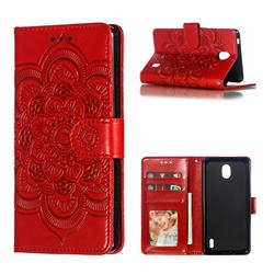 Intricate Embossing Datura Solar Leather Wallet Case for Nokia 1 Plus (2019) - Red
