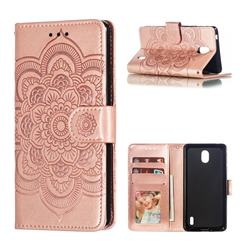 Intricate Embossing Datura Solar Leather Wallet Case for Nokia 1 Plus (2019) - Rose Gold