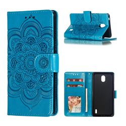 Intricate Embossing Datura Solar Leather Wallet Case for Nokia 1 Plus (2019) - Blue