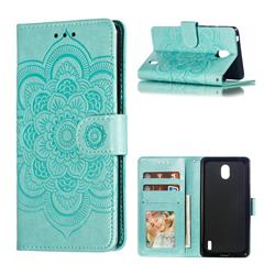Intricate Embossing Datura Solar Leather Wallet Case for Nokia 1 Plus (2019) - Green