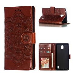 Intricate Embossing Datura Solar Leather Wallet Case for Nokia 1 Plus (2019) - Brown