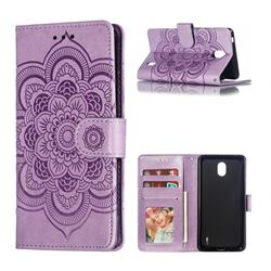 Intricate Embossing Datura Solar Leather Wallet Case for Nokia 1 Plus (2019) - Purple