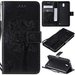 Embossing Butterfly Tree Leather Wallet Case for Nokia 1 Plus (2019) - Black