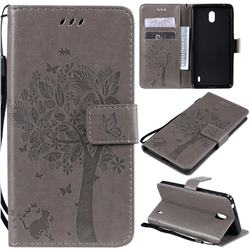 Embossing Butterfly Tree Leather Wallet Case for Nokia 1 Plus (2019) - Grey