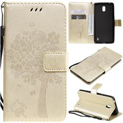 Embossing Butterfly Tree Leather Wallet Case for Nokia 1 Plus (2019) - Champagne
