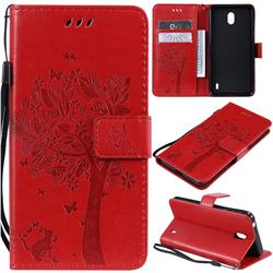 Embossing Butterfly Tree Leather Wallet Case for Nokia 1 Plus (2019) - Red