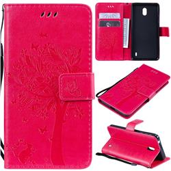 Embossing Butterfly Tree Leather Wallet Case for Nokia 1 Plus (2019) - Rose