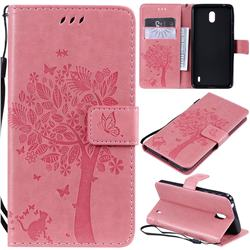 Embossing Butterfly Tree Leather Wallet Case for Nokia 1 Plus (2019) - Pink