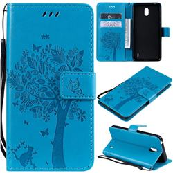 Embossing Butterfly Tree Leather Wallet Case for Nokia 1 Plus (2019) - Blue