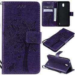 Embossing Butterfly Tree Leather Wallet Case for Nokia 1 Plus (2019) - Purple