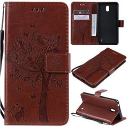 Embossing Butterfly Tree Leather Wallet Case for Nokia 1 Plus (2019) - Coffee