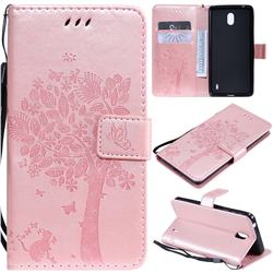 Embossing Butterfly Tree Leather Wallet Case for Nokia 1 Plus (2019) - Rose Pink