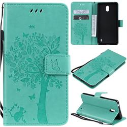 Embossing Butterfly Tree Leather Wallet Case for Nokia 1 Plus (2019) - Cyan