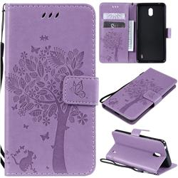 Embossing Butterfly Tree Leather Wallet Case for Nokia 1 Plus (2019) - Violet
