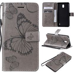 Embossing 3D Butterfly Leather Wallet Case for Nokia 1 Plus (2019) - Gray