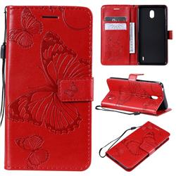 Embossing 3D Butterfly Leather Wallet Case for Nokia 1 Plus (2019) - Red