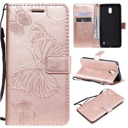 Embossing 3D Butterfly Leather Wallet Case for Nokia 1 Plus (2019) - Rose Gold