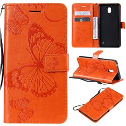 Embossing 3D Butterfly Leather Wallet Case for Nokia 1 Plus (2019) - Orange