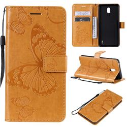 Embossing 3D Butterfly Leather Wallet Case for Nokia 1 Plus (2019) - Yellow