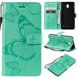 Embossing 3D Butterfly Leather Wallet Case for Nokia 1 Plus (2019) - Green