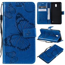 Embossing 3D Butterfly Leather Wallet Case for Nokia 1 Plus (2019) - Blue