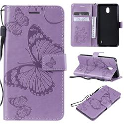 Embossing 3D Butterfly Leather Wallet Case for Nokia 1 Plus (2019) - Purple