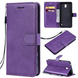 Retro Greek Classic Smooth PU Leather Wallet Phone Case for Nokia 1 Plus (2019) - Purple