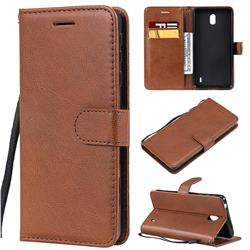 Retro Greek Classic Smooth PU Leather Wallet Phone Case for Nokia 1 Plus (2019) - Brown
