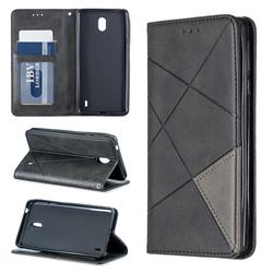 Prismatic Slim Magnetic Sucking Stitching Wallet Flip Cover for Nokia 1 Plus (2019) - Black