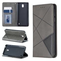Prismatic Slim Magnetic Sucking Stitching Wallet Flip Cover for Nokia 1 Plus (2019) - Gray