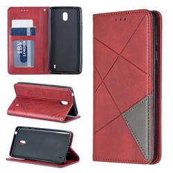 Prismatic Slim Magnetic Sucking Stitching Wallet Flip Cover for Nokia 1 Plus (2019) - Red