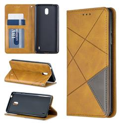 Prismatic Slim Magnetic Sucking Stitching Wallet Flip Cover for Nokia 1 Plus (2019) - Yellow