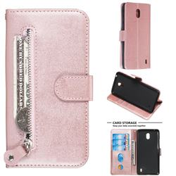 Retro Luxury Zipper Leather Phone Wallet Case for Nokia 1 Plus (2019) - Pink