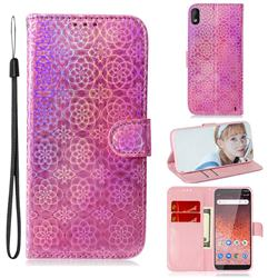 Laser Circle Shining Leather Wallet Phone Case for Nokia 1 Plus (2019) - Pink