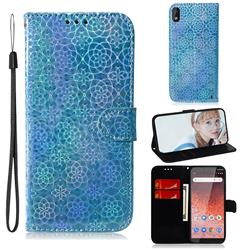 Laser Circle Shining Leather Wallet Phone Case for Nokia 1 Plus (2019) - Blue