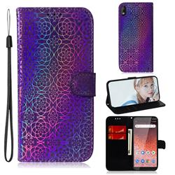 Laser Circle Shining Leather Wallet Phone Case for Nokia 1 Plus (2019) - Purple