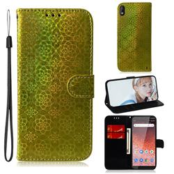 Laser Circle Shining Leather Wallet Phone Case for Nokia 1 Plus (2019) - Golden