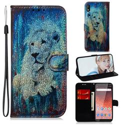 White Lion Laser Shining Leather Wallet Phone Case for Nokia 1 Plus (2019)