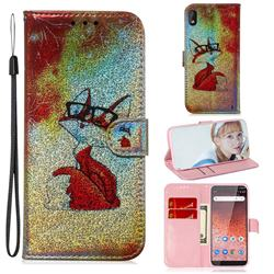 Glasses Fox Laser Shining Leather Wallet Phone Case for Nokia 1 Plus (2019)